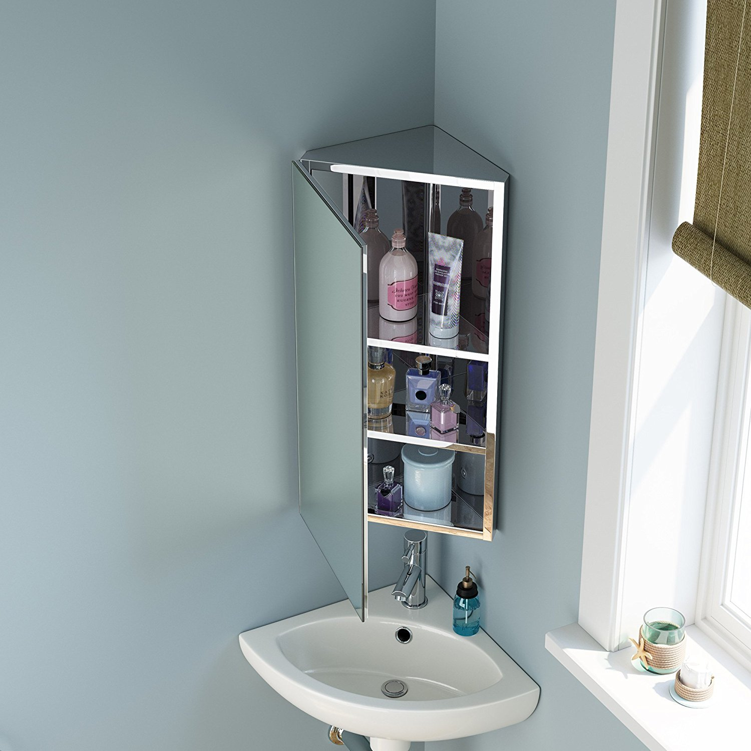 Seababyhouse Bathroom Storage Corner Cabinet Mirror Stainless Tall Steel Wall Mounted Organization Unit 3 Shelves Buy Online In India At Desertcart In Productid 57524546