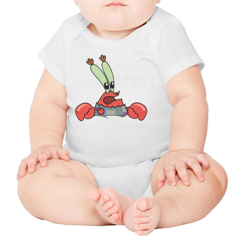 voslin Crab Party Decorations Baby Unisex White Short Sleeve 100% Cotton Cute Bodysuit