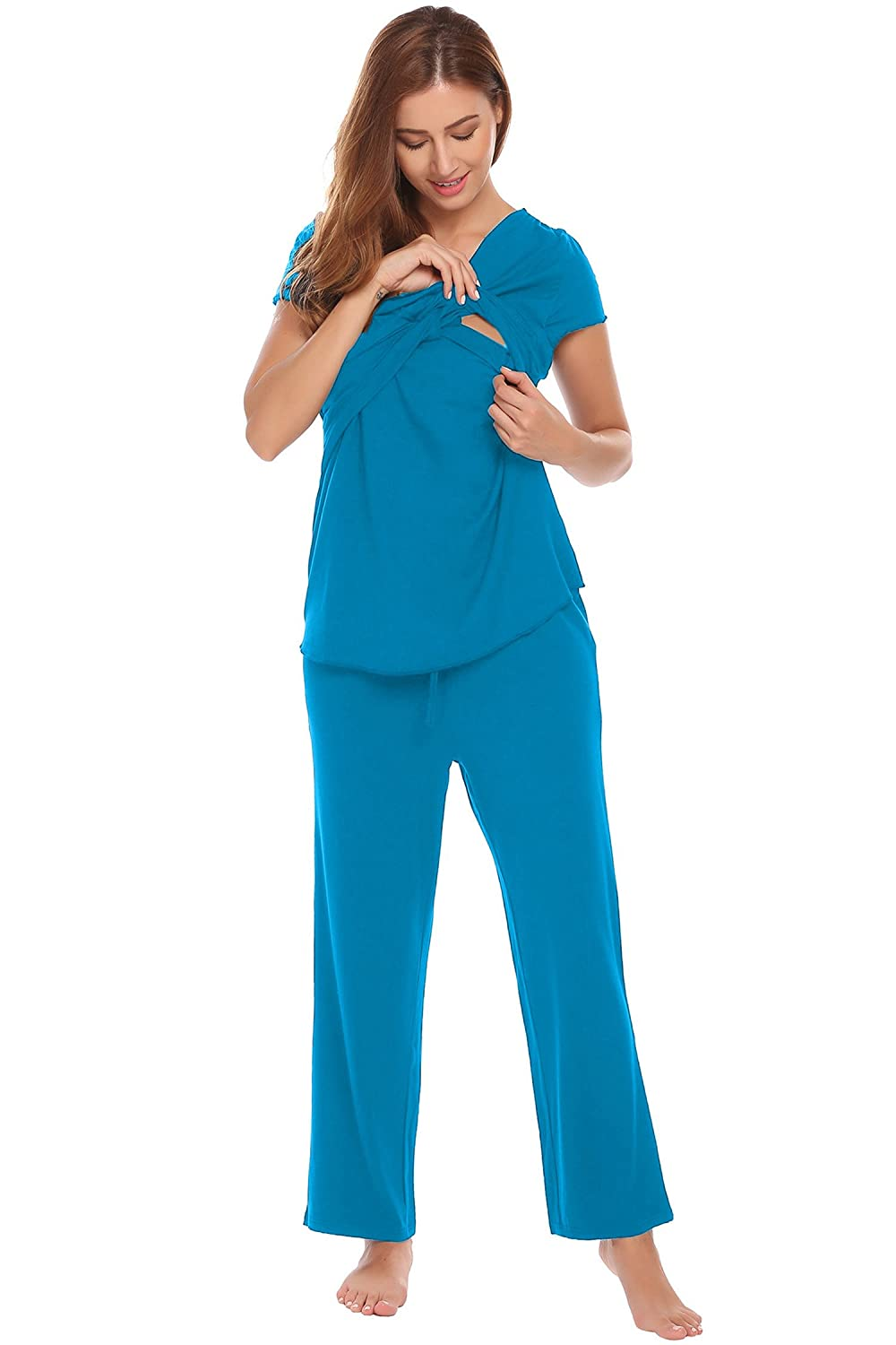 Ekouaer Ultra Soft Maternity & Nursing Pajamas - Pants Set V Neck Nightown AMK005670