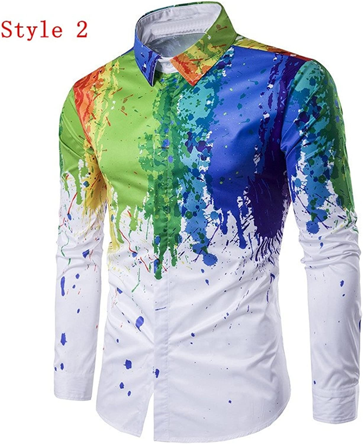 Sonjer New Chic Mens Fashion Shirt 3D Ink Splash Paint Colorful Leisure Street Party Wear Long Sleeve Lapel Floral Printed Shirts 3XL Style 2 L