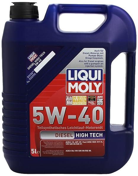 Liqui Moly 1332 Diesel High Tech 5W-40 - Aceite antifricción semisintético para motores de