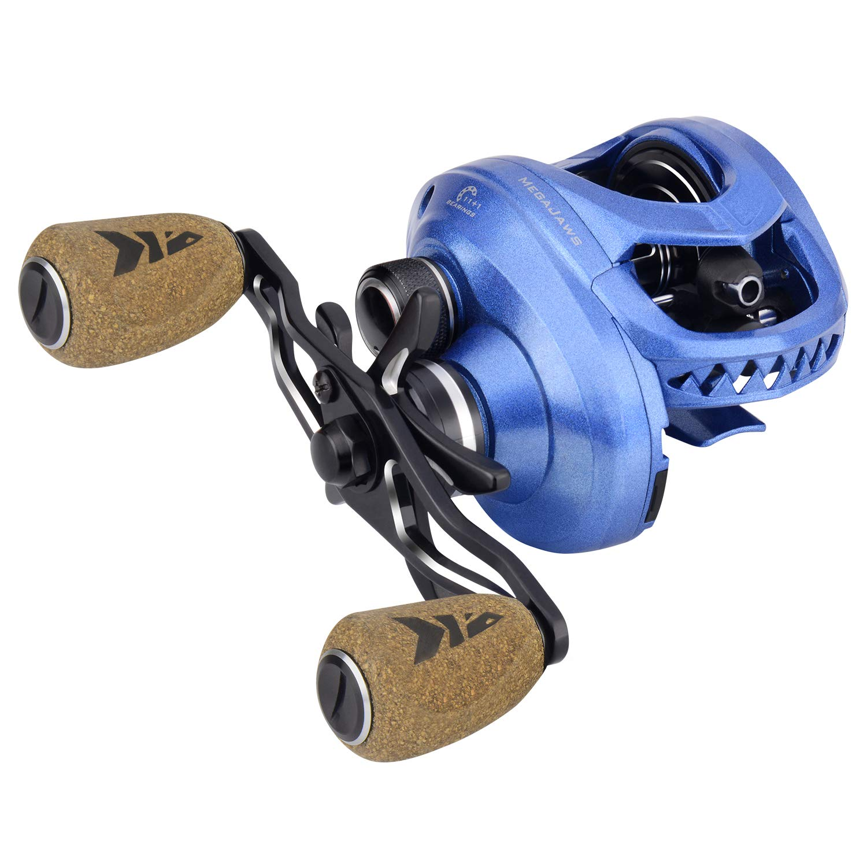 KastKing MegaJaws Baitcasting Reel,6.5:1 Gear Ratio,Right Handed Reel,Pelagic Blue