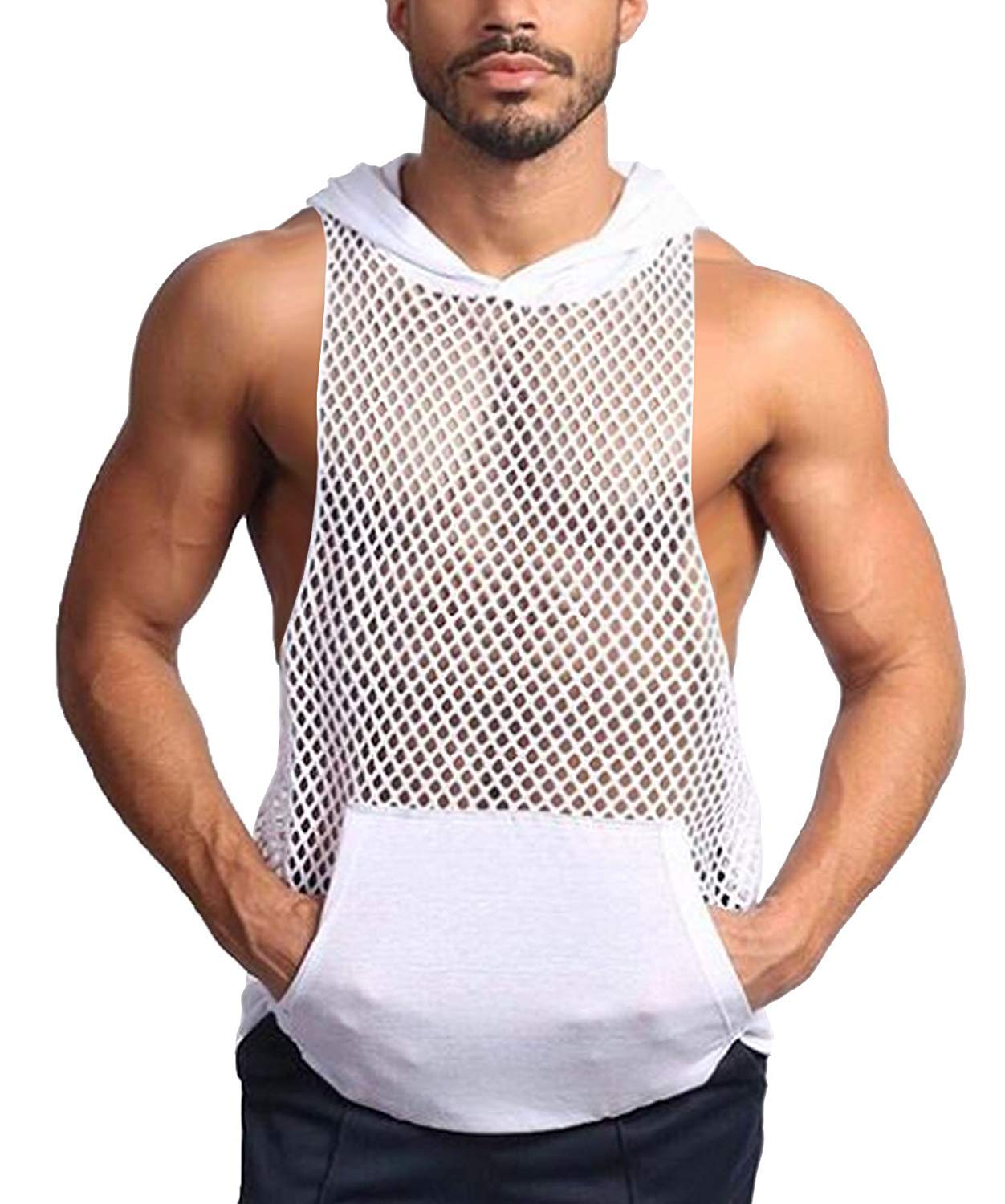 COOFANDY Mens Long Sleeves Muscle See Through Sexy Mesh Transparent Shirt with Hoodie,White2,Small by COOFANDY