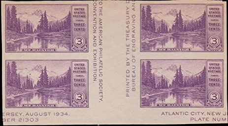 United States Scott 770a 3c Mt Rainier American Philatelic Society Block Of Four With Vertical