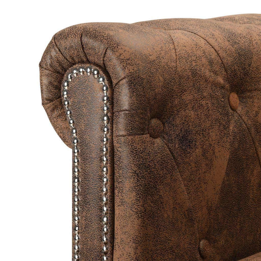 vidaXL Chesterfield Sofa Wildleder-Optik Braun Couch Ecksofa Wohnlandschaft