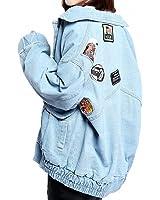 Harajuku Denim Jacket For Women Patch Designs Loose Bomber Jacket Coats Spring Female Casaco Long Sleeve