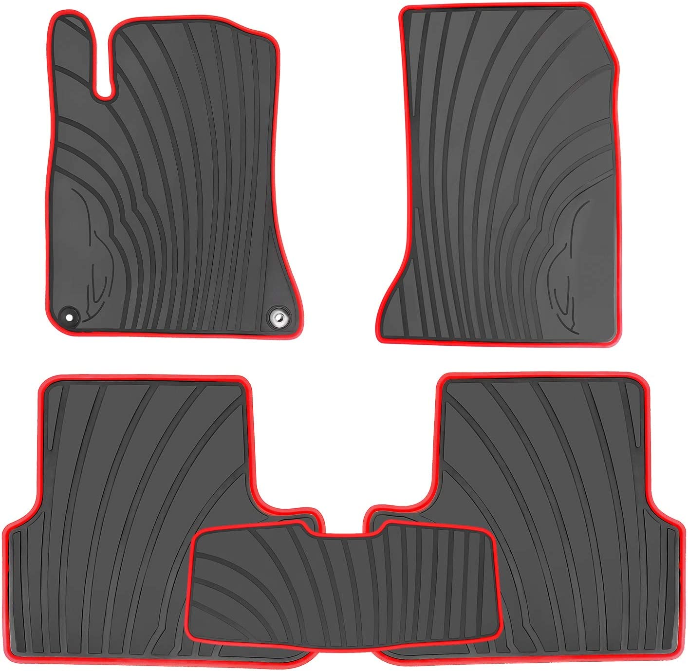 HD-Mart Cargo Liner Custom Fit for Mercedes Benz GLA 2014 2015 2016 2017 2018 2019 2020 Rubber Trunk Mats All Weather Protector Waterproof Heavy Duty Odorless Black and Red for GLA250 GLA45 GLA Class