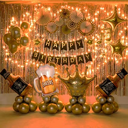 Gold and Silver Happy Birthday Table Centrepiece