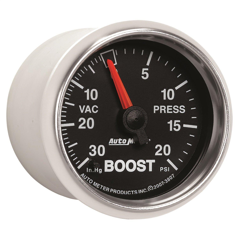 Auto Meter 3807 GS 2-1/16'' 30in. Hg/20 PSI Mechanical Vacuum/Boost Gauge by Auto Meter