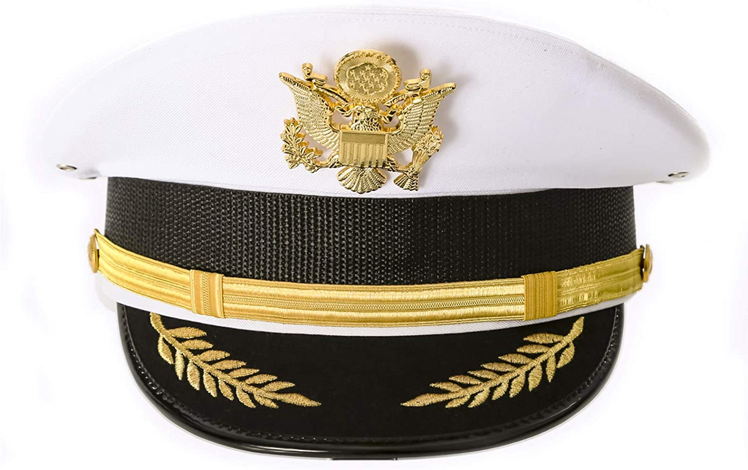 Unisex Military Cadet Captain Sailor Yacht Hat with Gold Metal US Seal