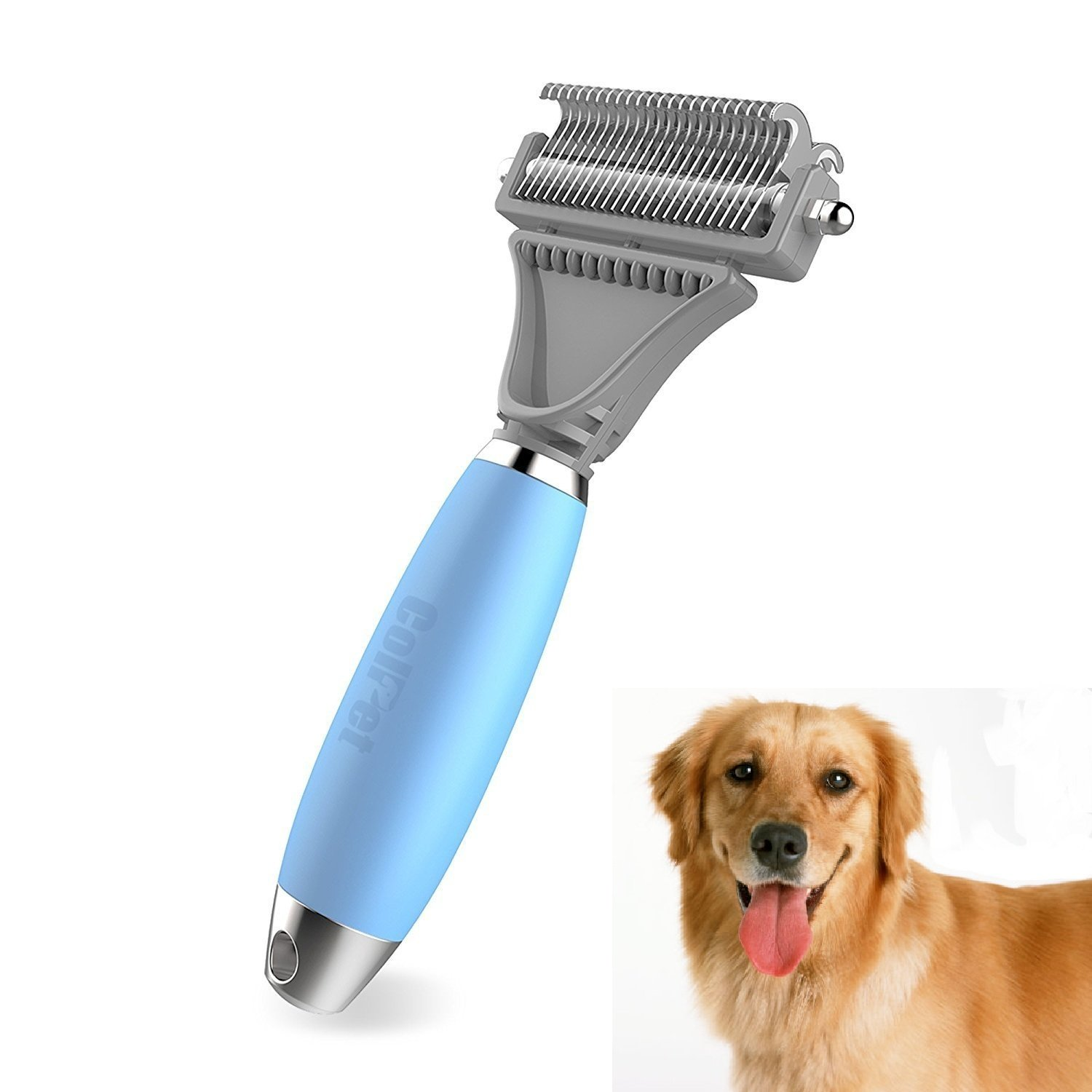 ColPet Dematting Comb Grooming Rake Dual Sided Adjustable Silicon Handle Matted Tangles for Cat Dogs