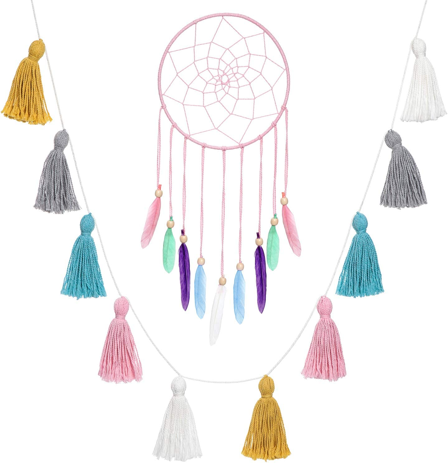 Isuesee Pink Dream Catcher with Feathers and Colorful Cotton Tassels Garland Boho Wall Hanging for Home Decor,Party Decor,Kids Bedroom,Nursey Room,Set of 2