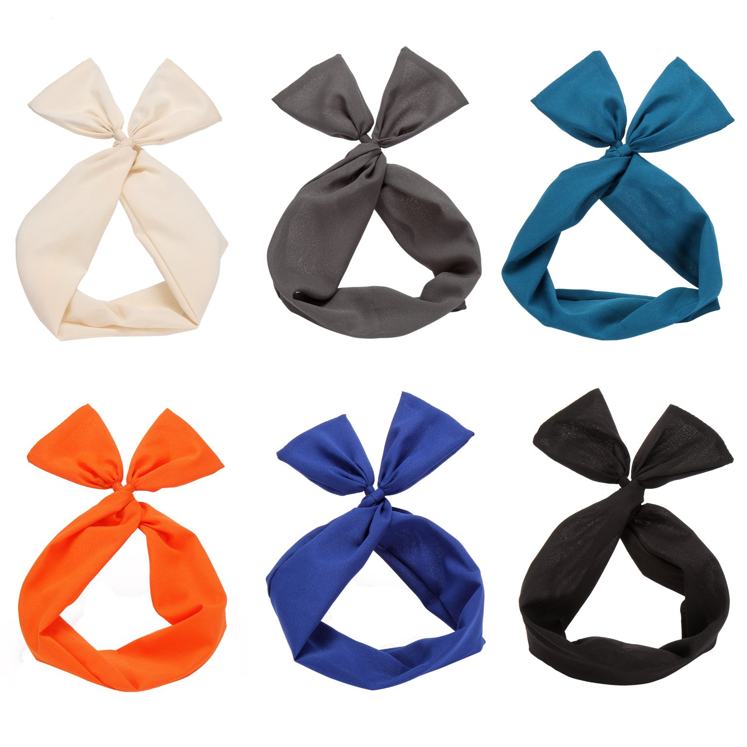 Sea Team Twist Bow Wired Headbands Scarf Wrap Hair Accessory Hairband (6 Packs Solid ) No Model