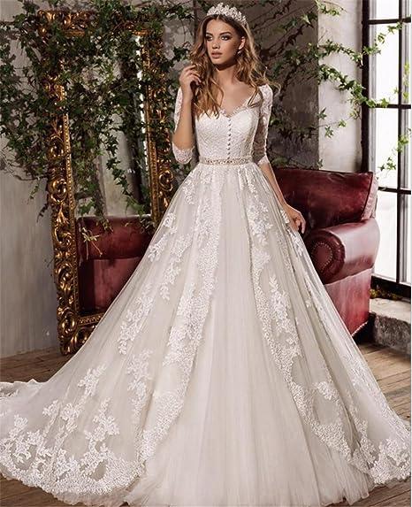 fde6b6abe420 LUCKY-U Vestito da Sposa Vestito Lungo Regalo di Matrimonio Donna Vestito da  Sposa Abito