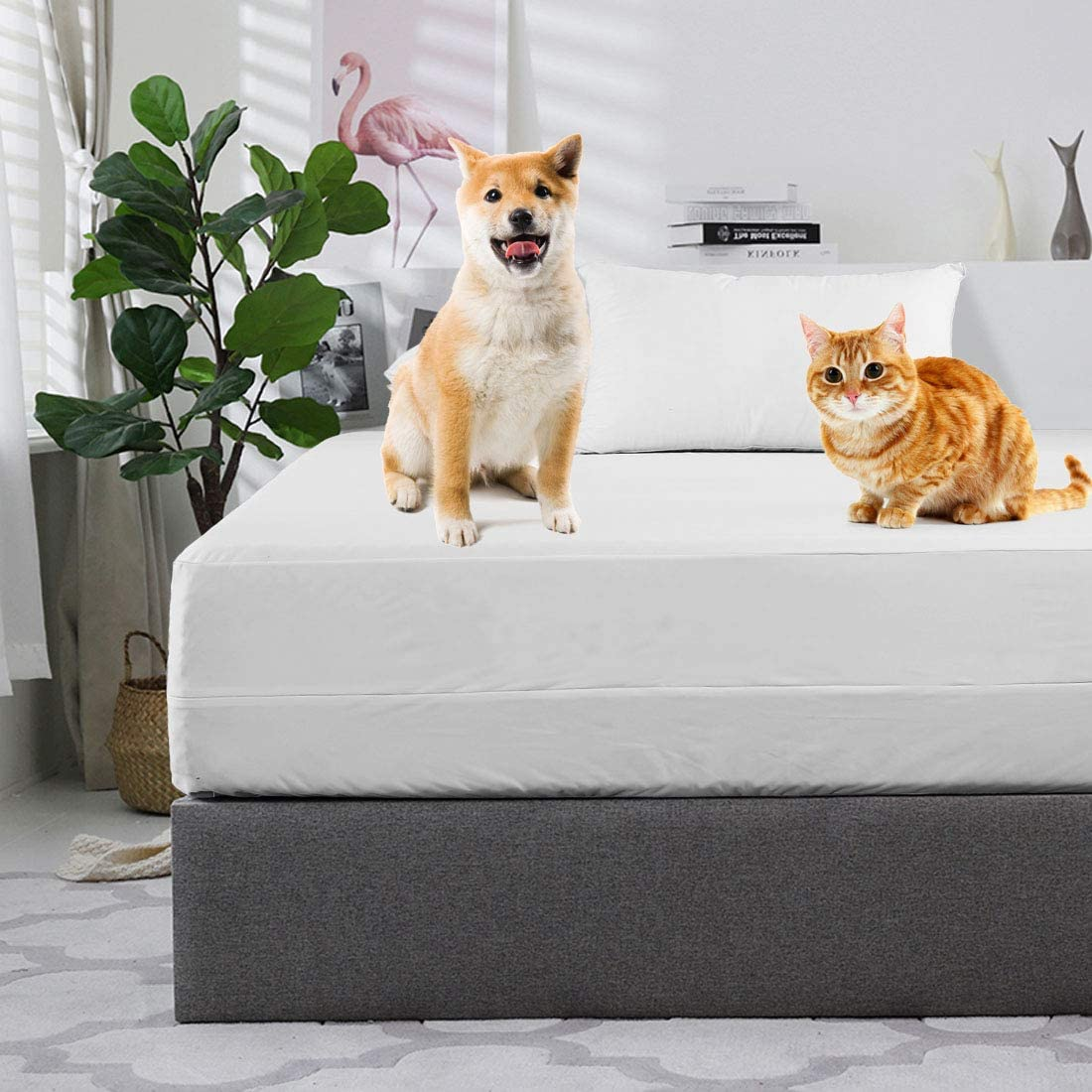"""Abakan Queen 12"""" Waterproof Zippered Mattress Encasement Box Spring Protector Quiet Cooling Soft Breathable Hypoallergenic Healthy 6-Sided Mattress Cover Polyester Suitable for 11"""" 13"""" inch"""