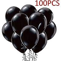 "Fecedy 12"" Black Shiny Latex Balloons 100pcs/pack"