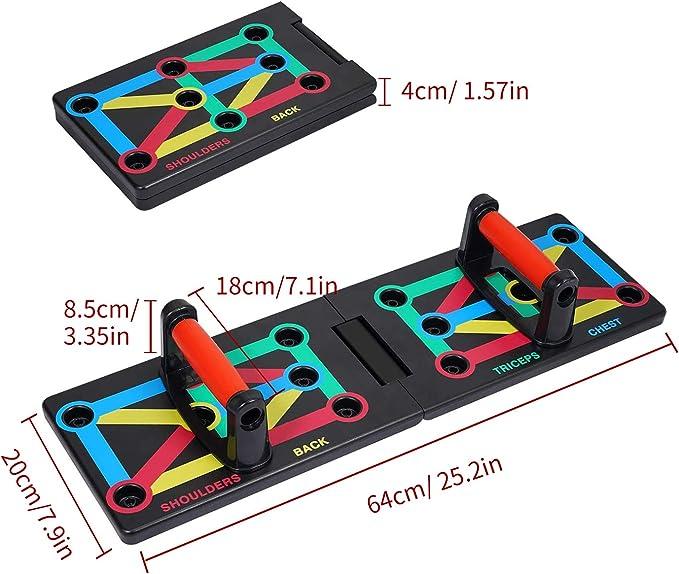 Coriver 9 en 1 Push Up Rack Board, Soportes Plegables Plegables Bracket Board System Workout Board Entrenamiento en Gimnasio Muscle Board Home Fitness ...