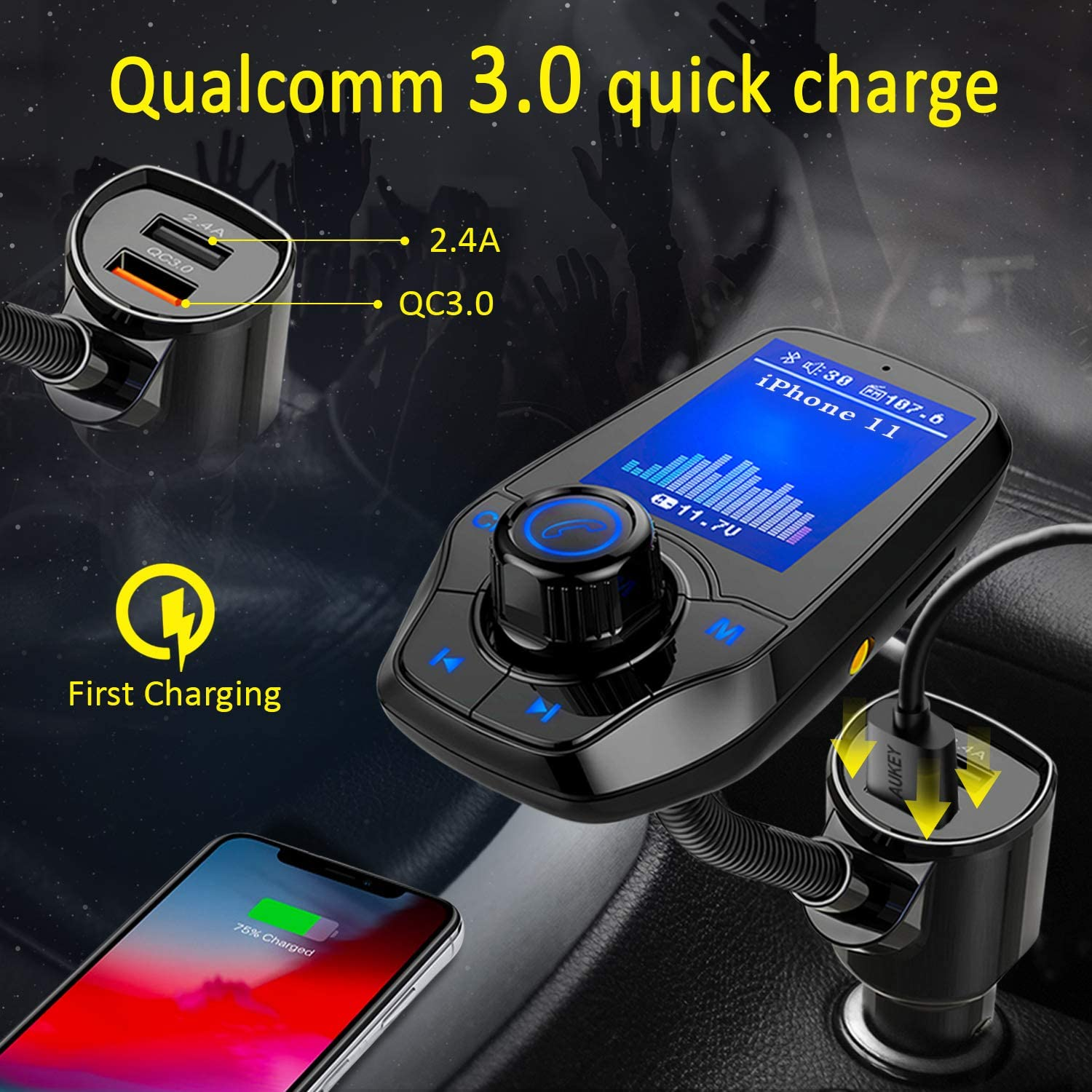 Support microSD Card EQ Modes Black. 1.8 Color Screen Radio Adapter W QC3.0 /& 5V//2.4A Charging Handsfree Call KM18 Aux Play KINDLUXE Bluetooth FM Transmitter for Car Upgraded Version
