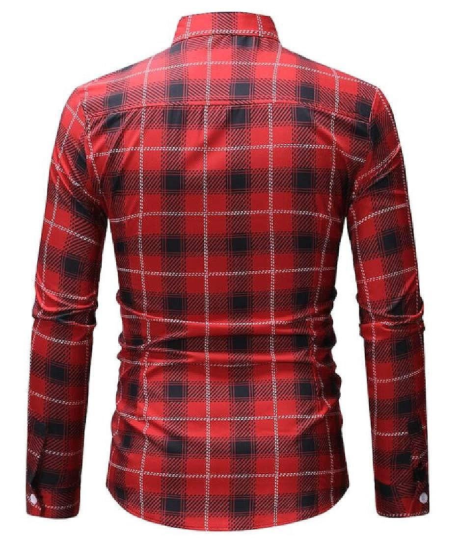 Zantt Mens Business Plaid Check Button Up Basic Long Sleeve Dress Shirts
