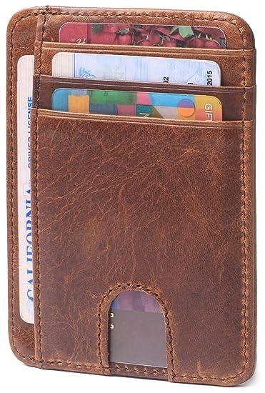 672f5ffbc334 Slim Minimalist Credit Card Holder Front Pocket RFID Blocking Leather  Wallets for Men & Women