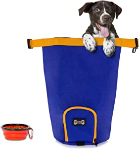 Kibble Carrier Dog Food Travel Bag, Holds 7 lbs Reusable Portable Folding Travel Food Storage Container Dog Travel Accessories for Camping for Cat & Dog, with Dog Water Bowls Kit, BPA-Free (Navy)