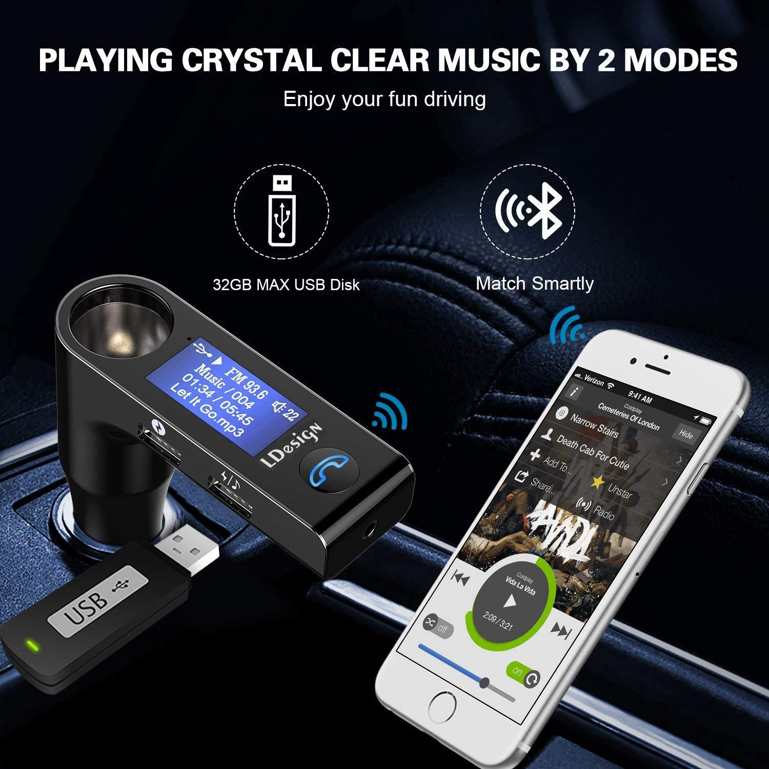 LoHi FM Transmitter, Wireless In-Car FM Radio Adapter Car Kit with Handsfree Call, AUX Output, 3-Modes Crystal Music Play for Audio Player, Android, iPhone -Black