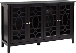 HOMCOM Wood Accent Sideboard Buffet Serving Storage Cabinet with 4 Framed Glass Doors Entryway Kitchen Dining Console Living Room, Adjustable Shelves, Espresso