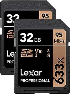 Lexar Professional 633x 32GB SDHC UHS-I Card, 2-Pack (LSD32GCB1NL6332)