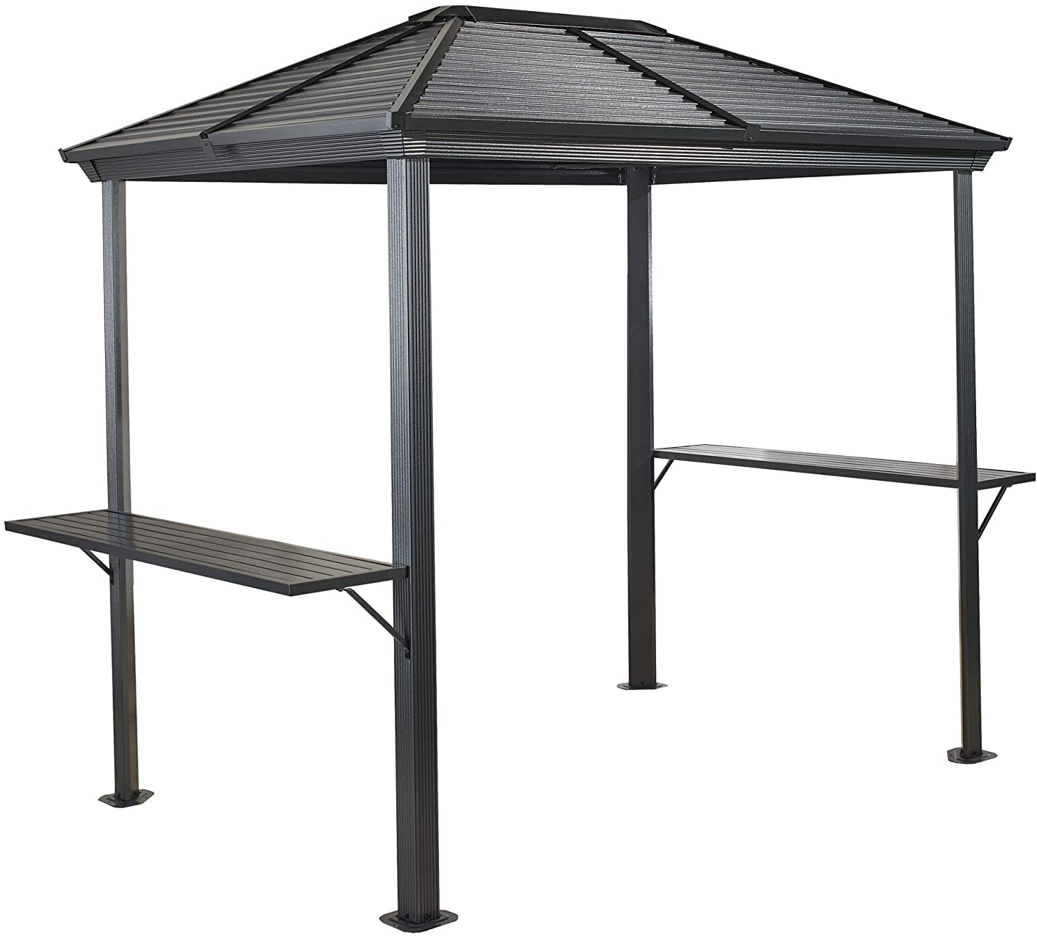 Sojag Outdoor 5' x 8' Ventura Hardtop Grill Gazebo with Shelving, Charcoal