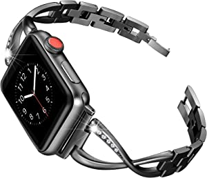 Secbolt Bands Compatible Apple Watch Band 42mm 44mm Iwatch Series 6/5/4/3/2/1 SE Women Dressy Jewelry Stainless Steel Accessories Wristband Strap, Black