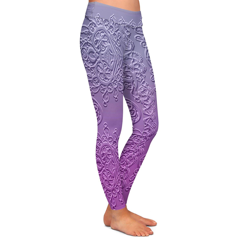 Grandmas Lace Smokey Grape Athletic Yoga Leggings from DiaNoche Designs by Susie Kunzelman