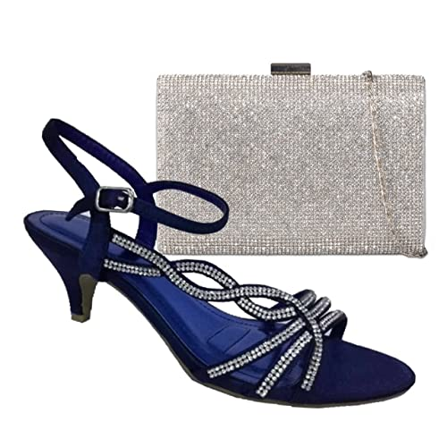 c8f2387f5dde6 Absolutely Gorgeous Boutique Ladies Diamante Low Mid Kitten Heels Ankle  Strap Shoes Sandals with Matching Handbag: Amazon.co.uk: Shoes & Bags