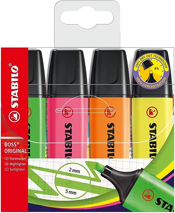 STABILO BOSS Original Marcador fluorescente multicolor - Estuche con 4 colores: Amazon.es: Oficina y papelería
