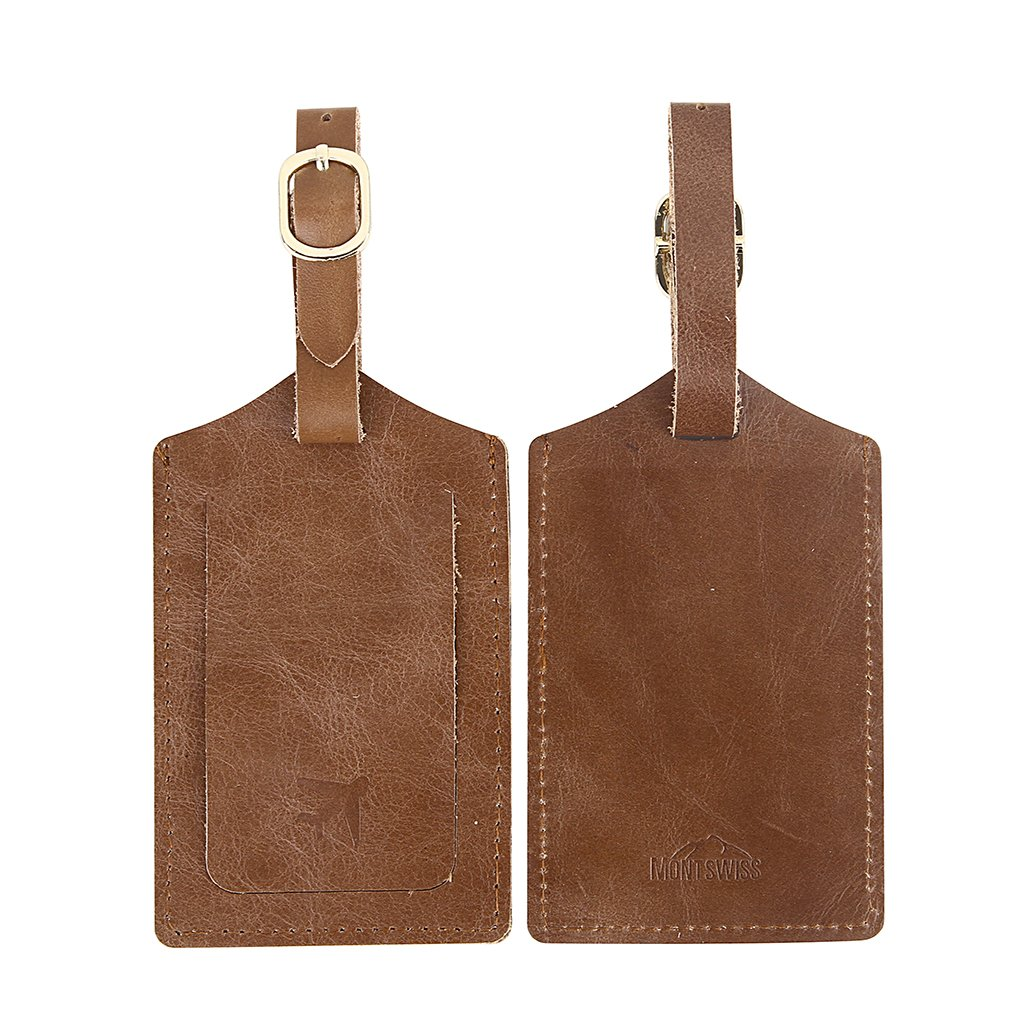Genuine Leather Luggage Bag Tags 2 Pieces Set in 2 Colors Mont Swiss (Brown) 7.43063E+11