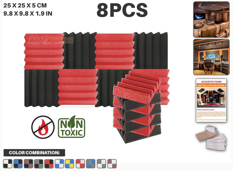 Ace Punch 8 piezas ROJO y NEGRO Combinazione di Colori Cuña Studio Foam Panel Aislamiento Acústico Tratamiento Espuma Acústica con lengüetas de montaje ...