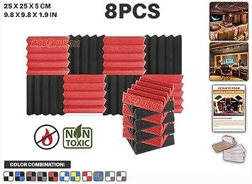 Ace Punch 8 piezas ROJO y NEGRO Combinazione di Colori Cuña Studio Foam Panel Aislamiento Acústico