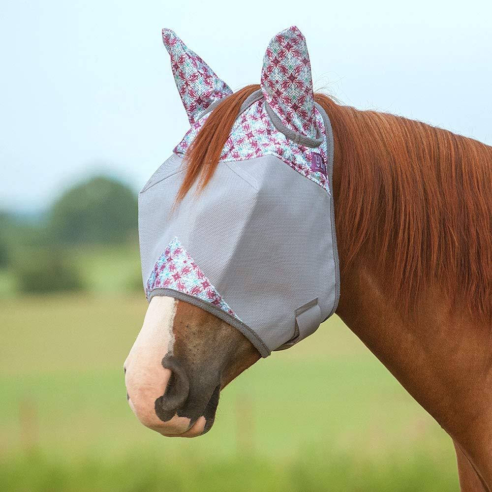 Cashel Company Crusader Patterned Horse Equine Standard with Ears Fly Mask (Foal, Plum Flash)