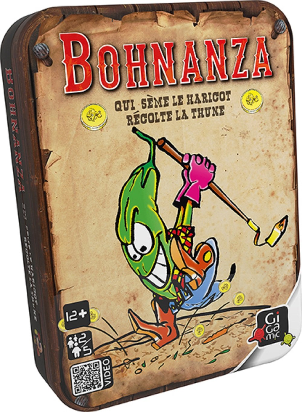 GIGAMIC Ambohn, card game Bohnanza, metal box