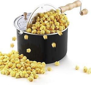 Cook N Home 02700 Stovetop Aluminum Popcorn Popper, 6 quart, black