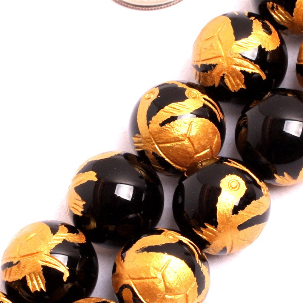 GM15643 GEMinside Yellow Tiger Eye Gemstone Loose Beads Natural 14mm Round Baihu Tiger Mala Crystal Energy Stone Power for Jewelry Making 15