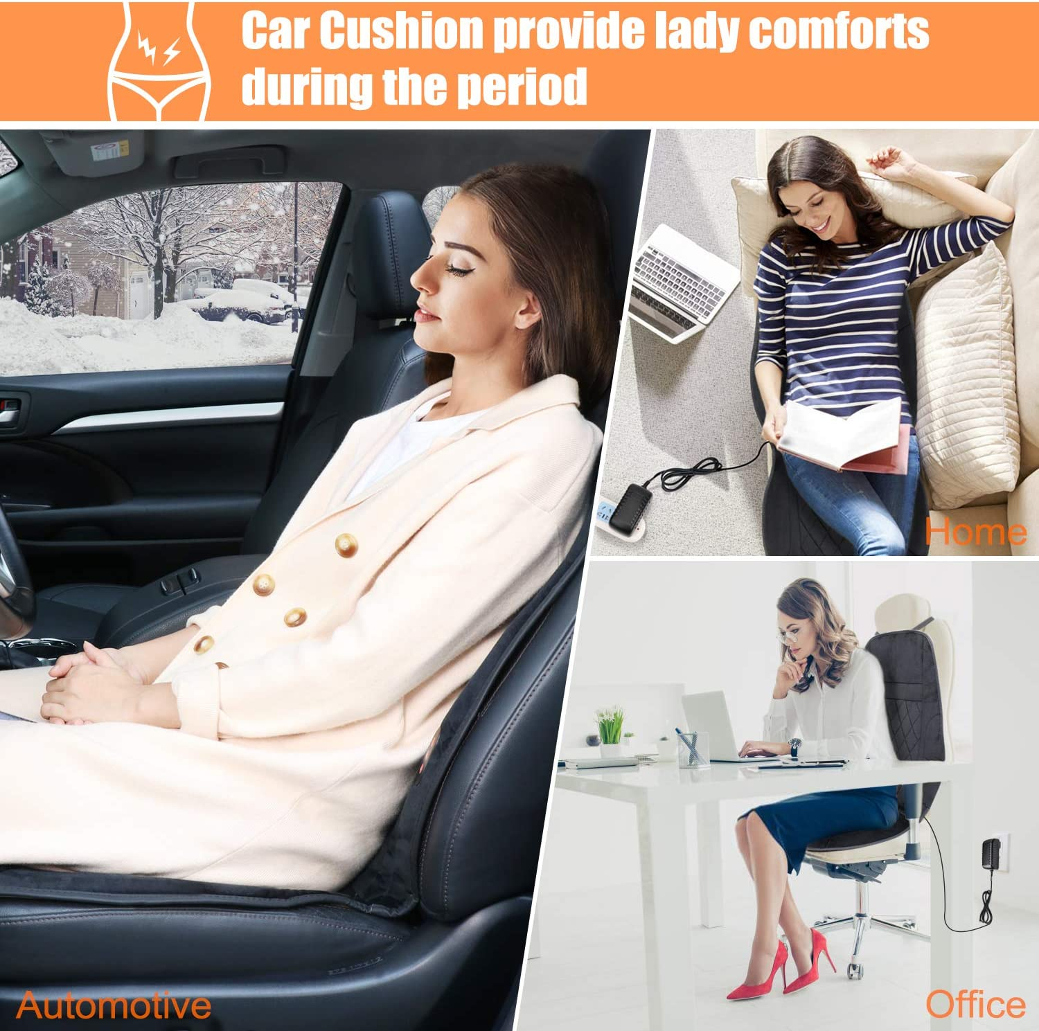 SEG Direct Heating Car Seat Cushion 12V Heater for Winter Vibrating Massage Seat Cover Heated Pad for Car Home Office