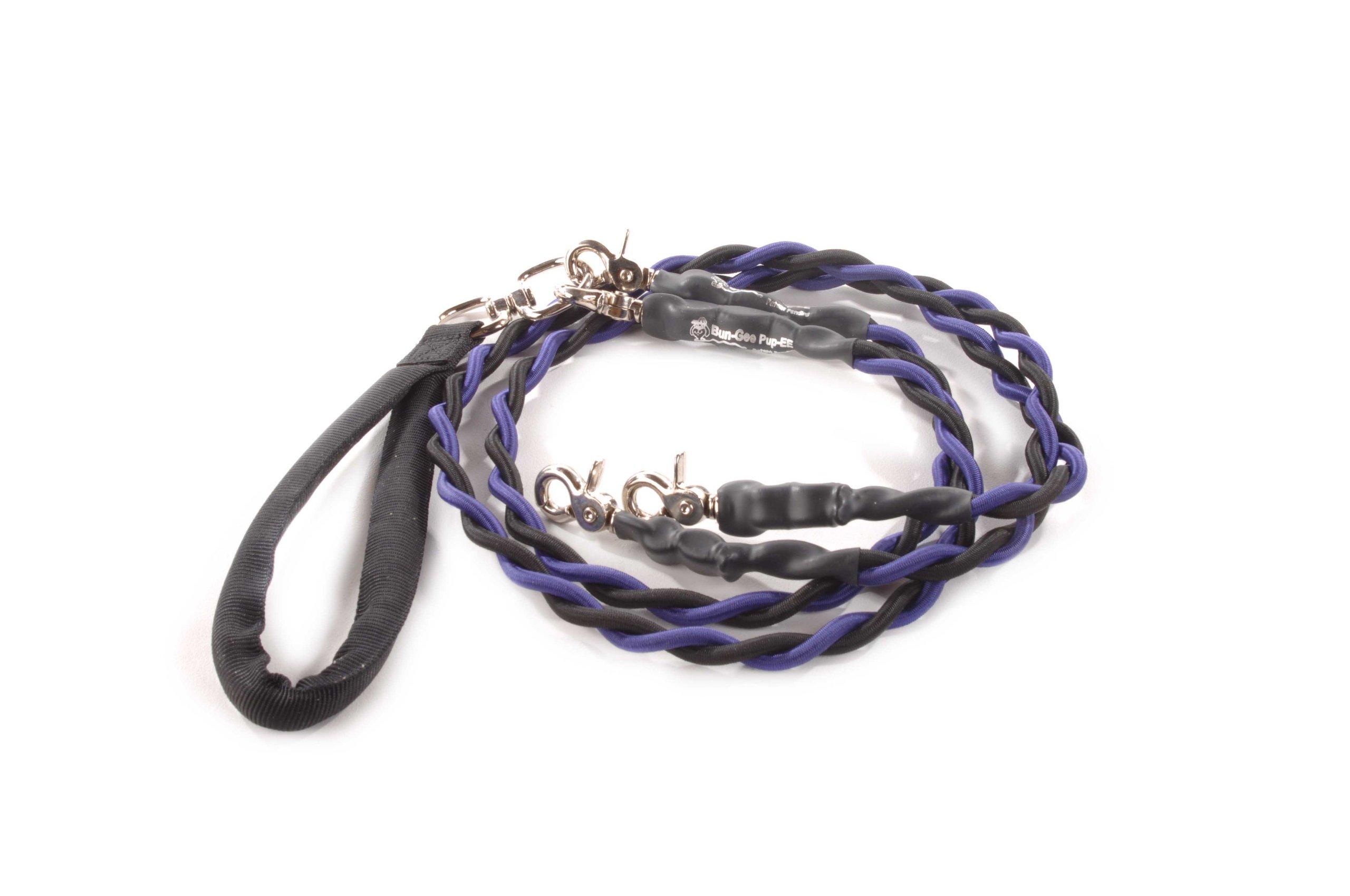 Bungee Pupee 4-Feet Double Pet Leash for Medium Sized Dogs, Purple/Black