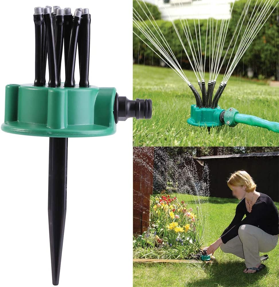 Zerodis 2Pcs 12 Hose Head Garden Plants Vegetable 360° Adjustable Watering Sprinkler Multi-use Lawn Irrigation System for Outdoor Yard