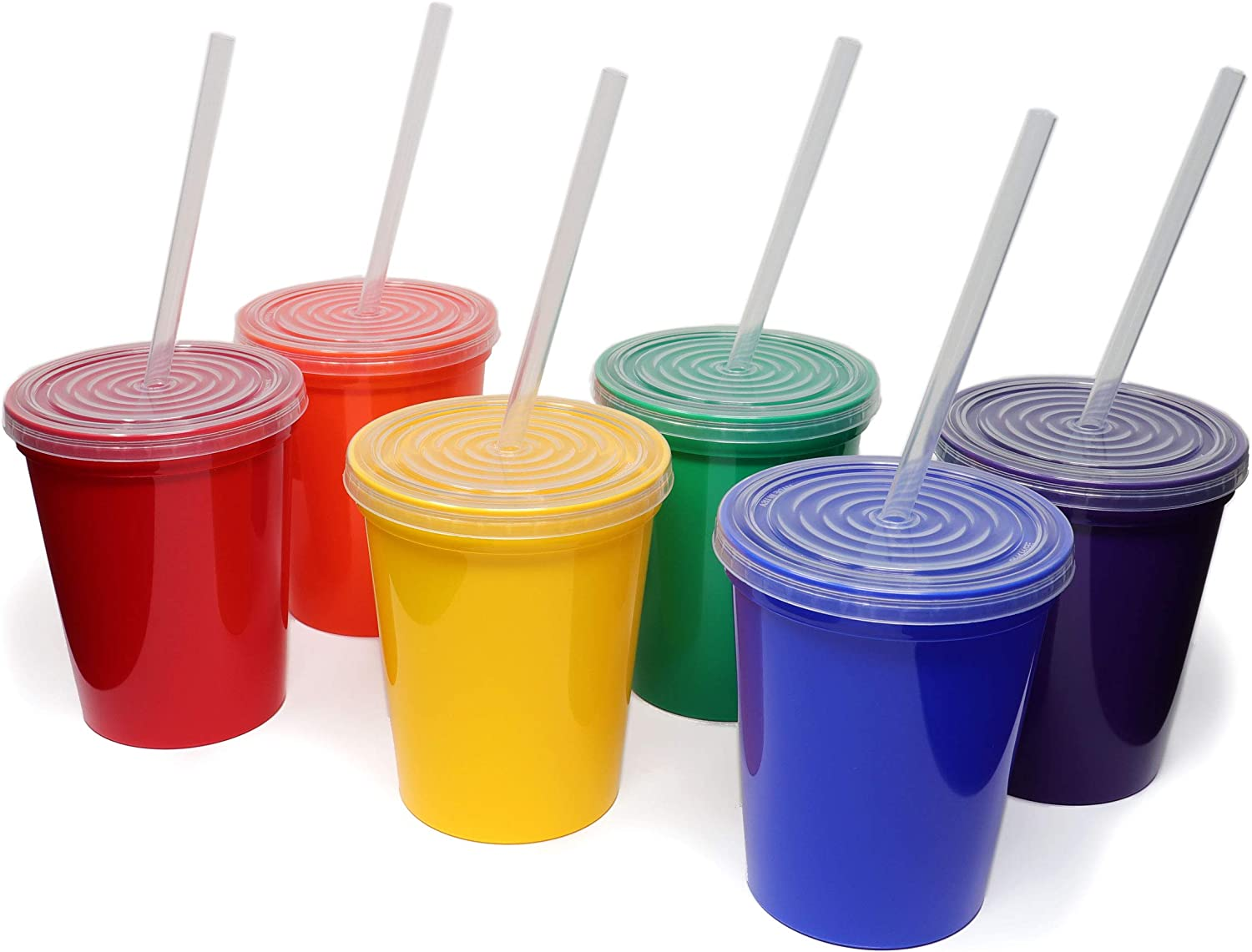Rolling Sands 16oz Reusable Plastic Stadium Rainbow Cups with Lids, 6 Pack, USA Made; Plastic Tumblers and Lids, Includes 6 Reusable Straws; Top Shelf Dishwasher