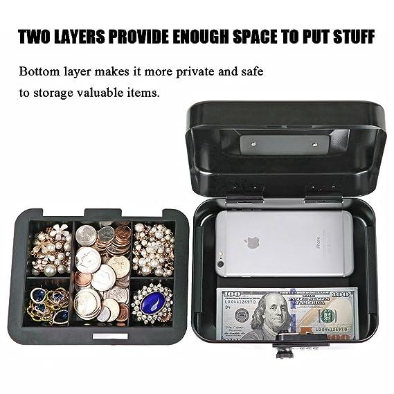 Amazon.com: Jssmst Caja de dinero pequeña con cerradura de ...