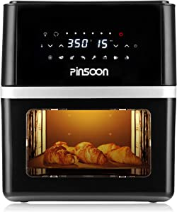 PINSOON 10-Quart Air Fryer (Rotisserie Shaft & Layer Racks & Nonstick Basket), Electric Hot Air Fryer Oven Oilless Cooker, Full Circle Heated Cyclonic System, 12 Accessories, 8 Cooking Presets, LED Digital Touchscreen (50 Recipe)