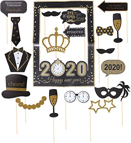 Happy New Years Selfie Giant Plastic Photo Frame Photo Booth Party Prop