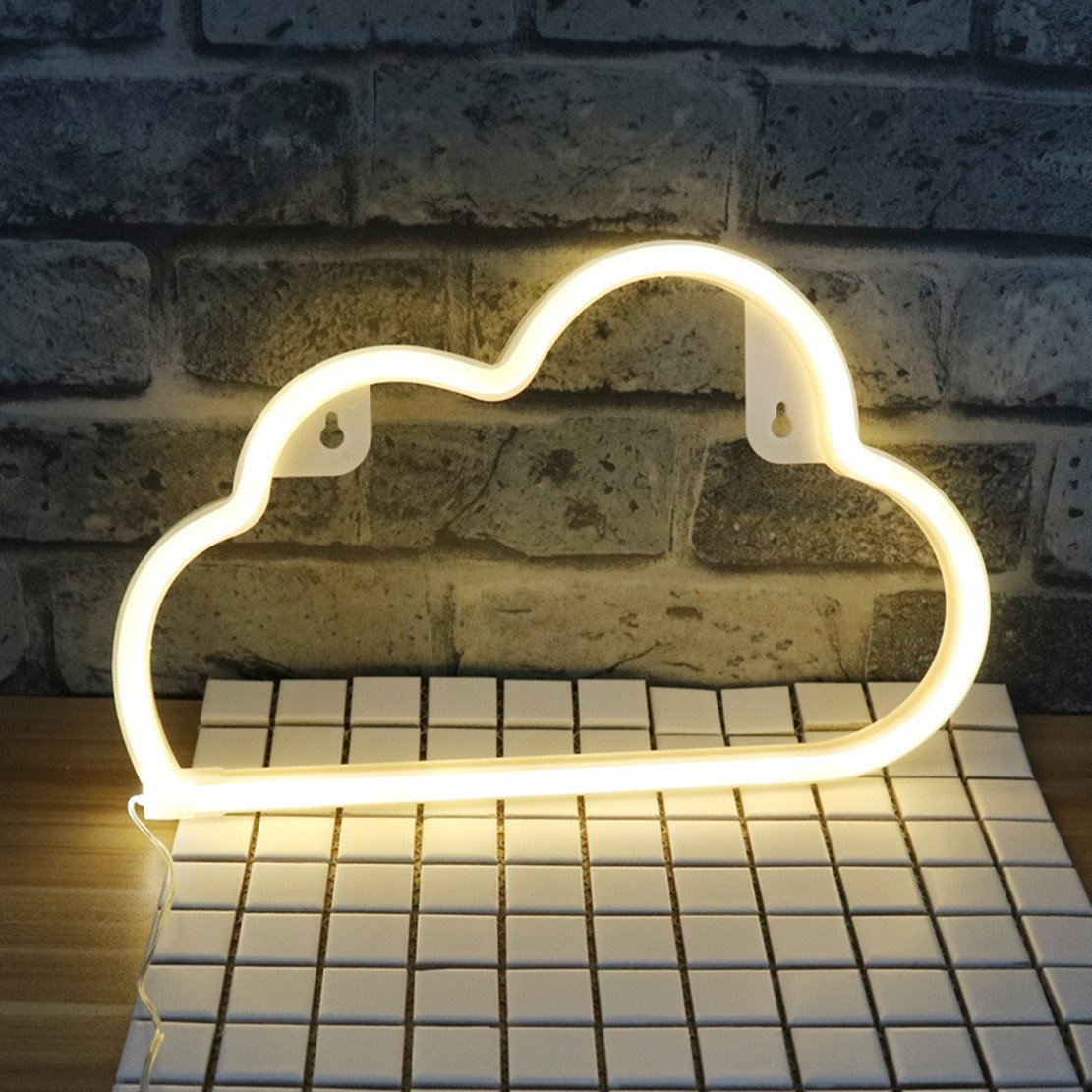 Cloud Neon Light Sign,Sky Theme Decoration Light,LED Cloud Shaped Room Decor Light,Wall Decor/Table Decor for Chistmas,Birthday Party,Kids Room, Living Room, Wedding Party Decor (Warm White)