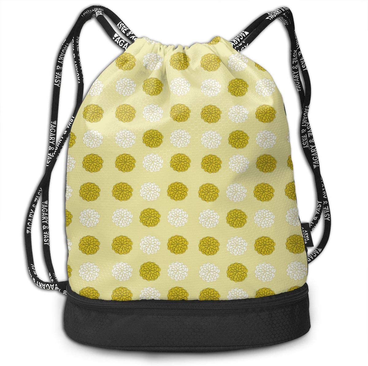 Round Beige Drawstring Backpack Sports Athletic Gym Cinch Sack String Storage Bags for Hiking Travel Beach