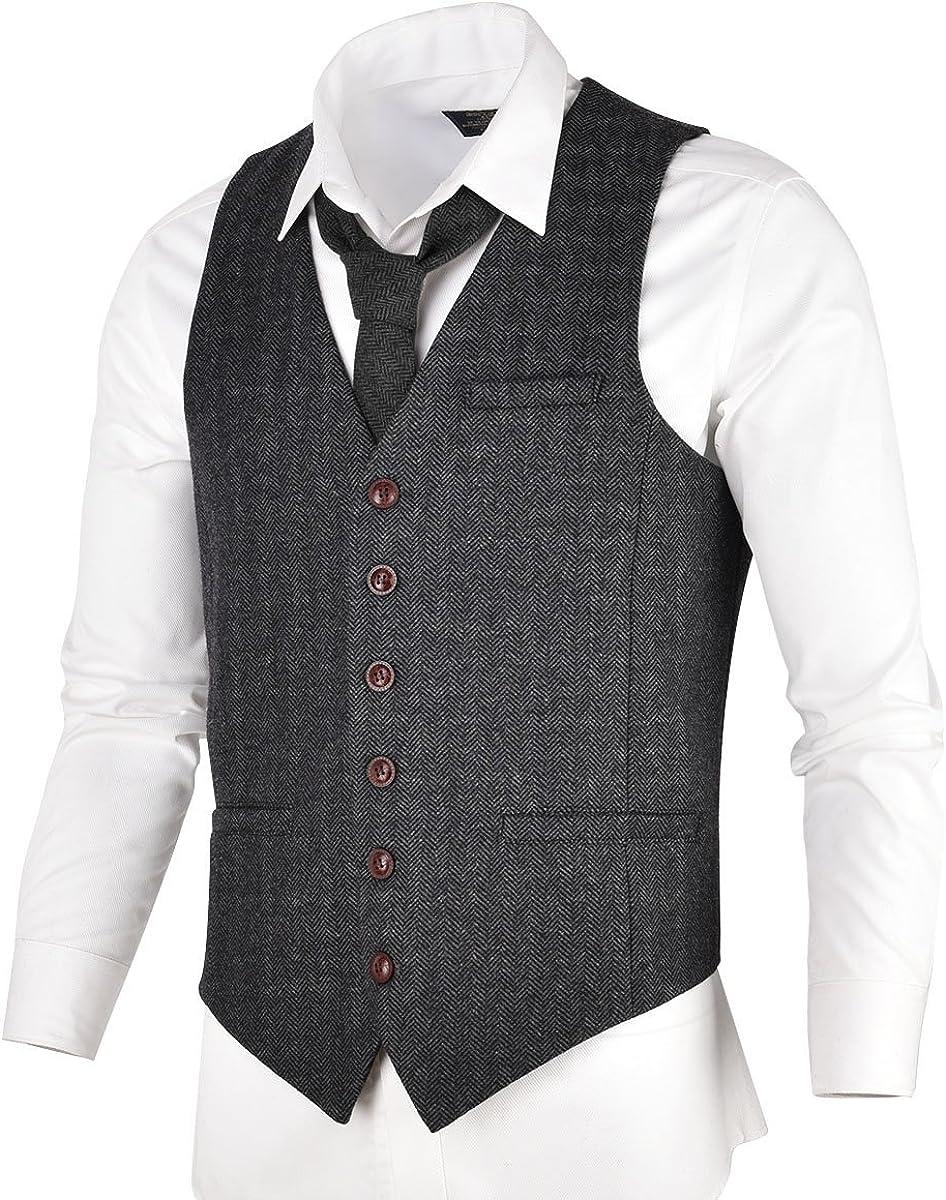 VOBOOM Men's Slim Fit Herringbone Tweed Suits Vest Premium Wool Blend Waistcoat